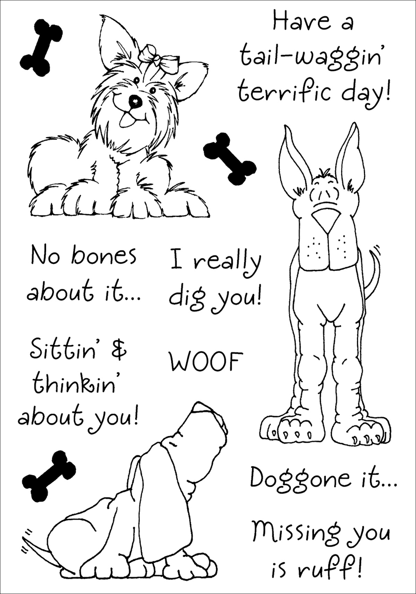 Inky Antics Clear Stamp Set 4X6-Delightful Dogs #2