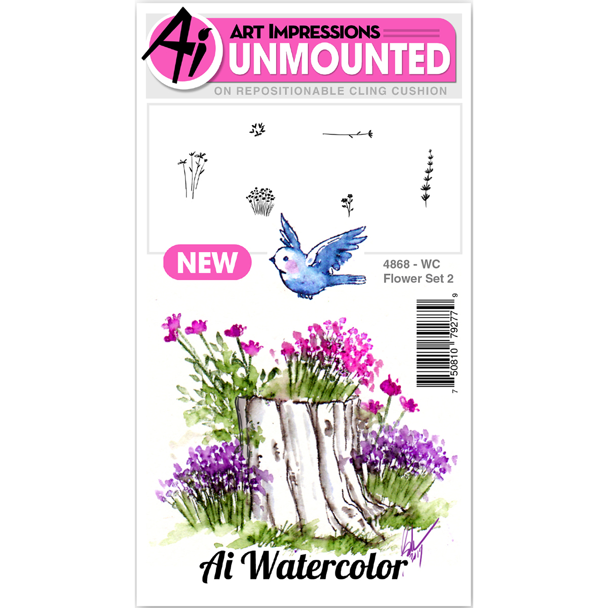 Art Impressions Watercolor Cling Rubber Stamps -Flower 2