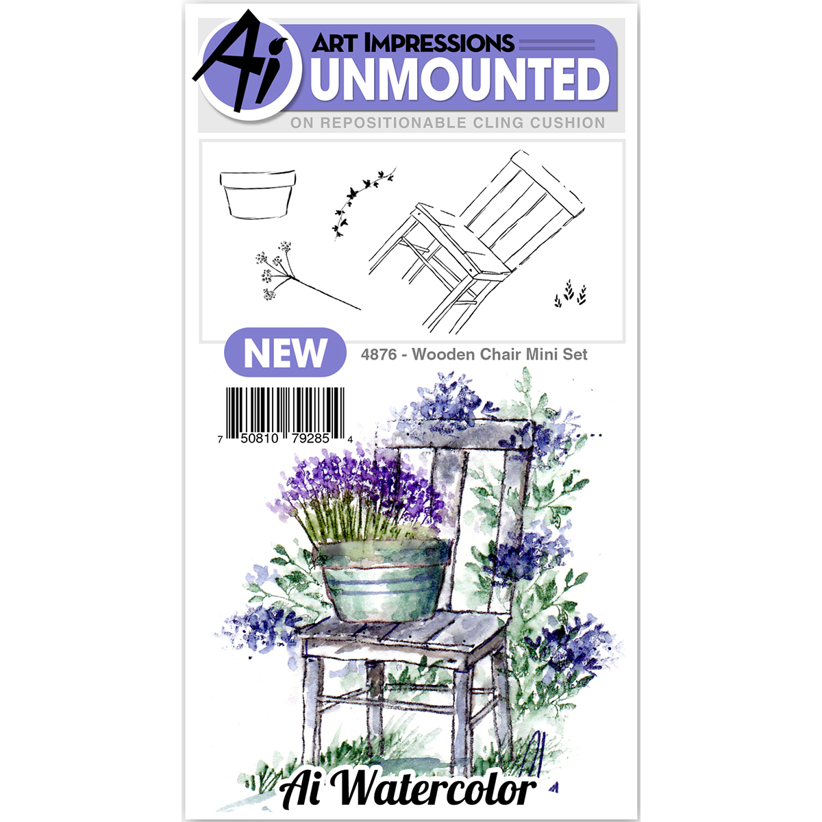 Art Impressions Watercolor Cling Rubber Stamps -Mini Wooden Chair