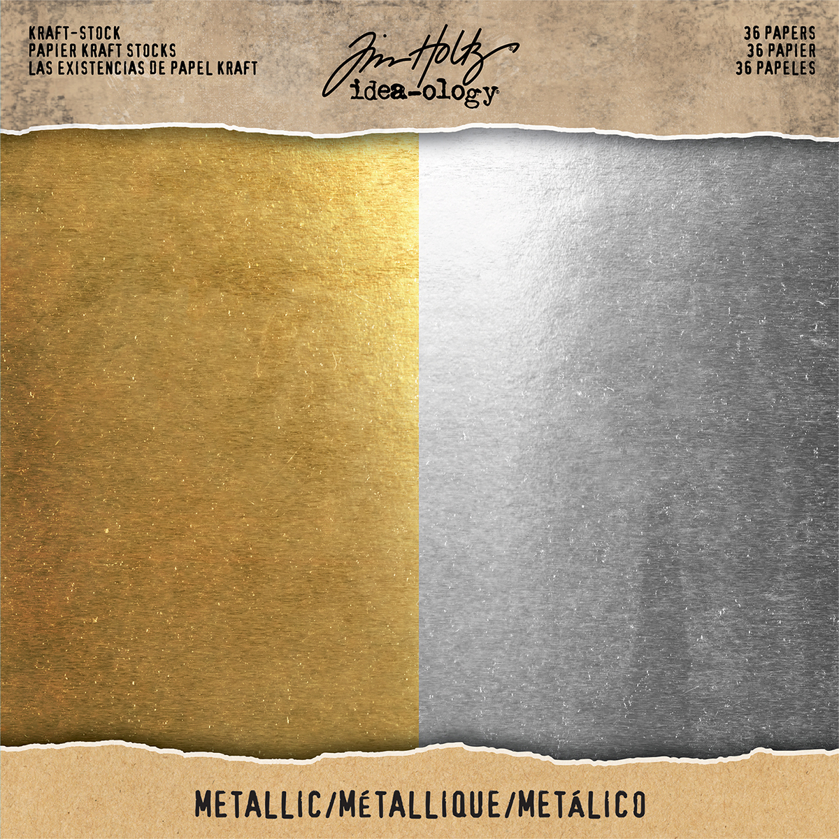 Idea-Ology Kraft Stock Cardstock Pad 8X8 36/Pkg-Metallic Gold & Silver/18 Each