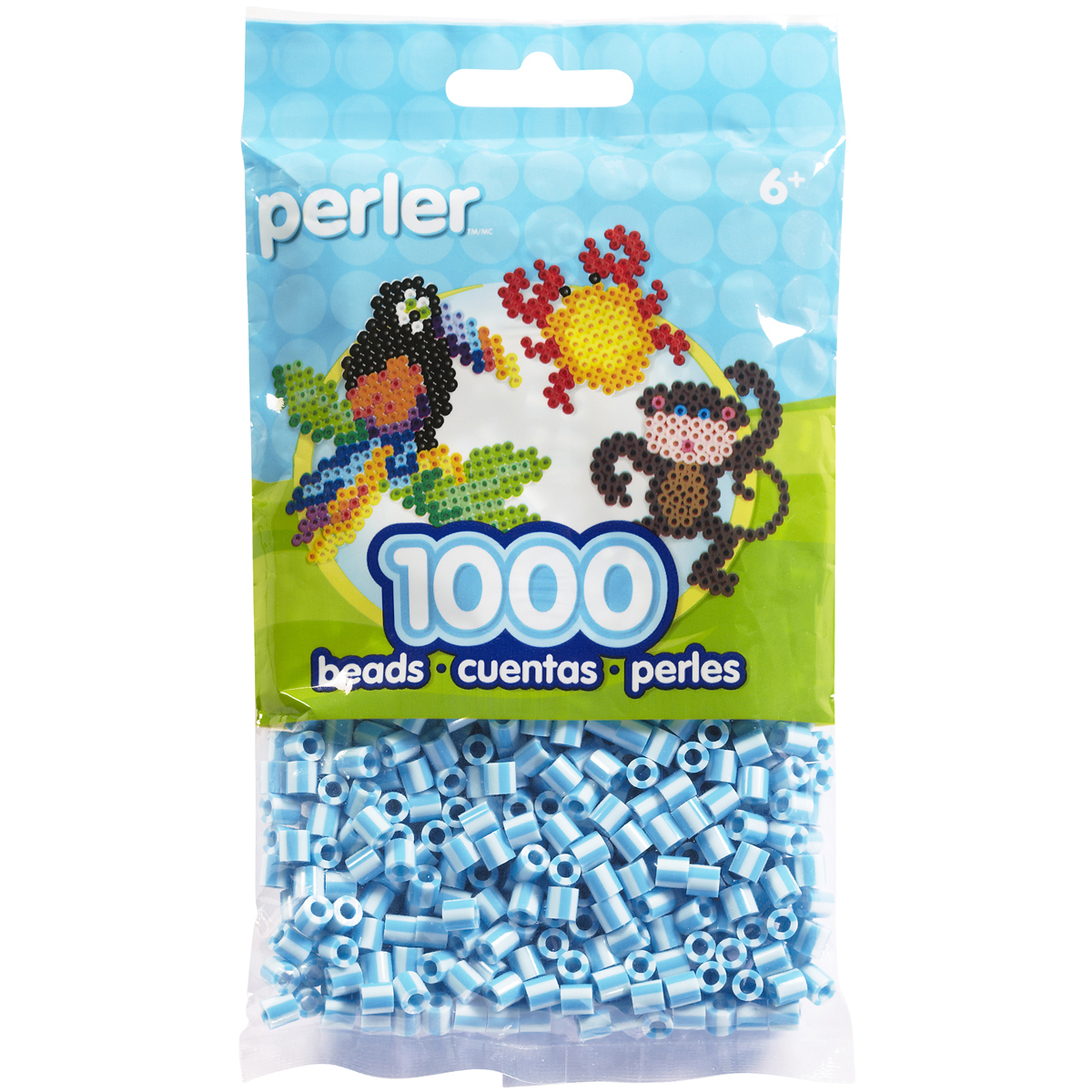 Perler Striped Beads 1,000/Pkg-Sky Blue
