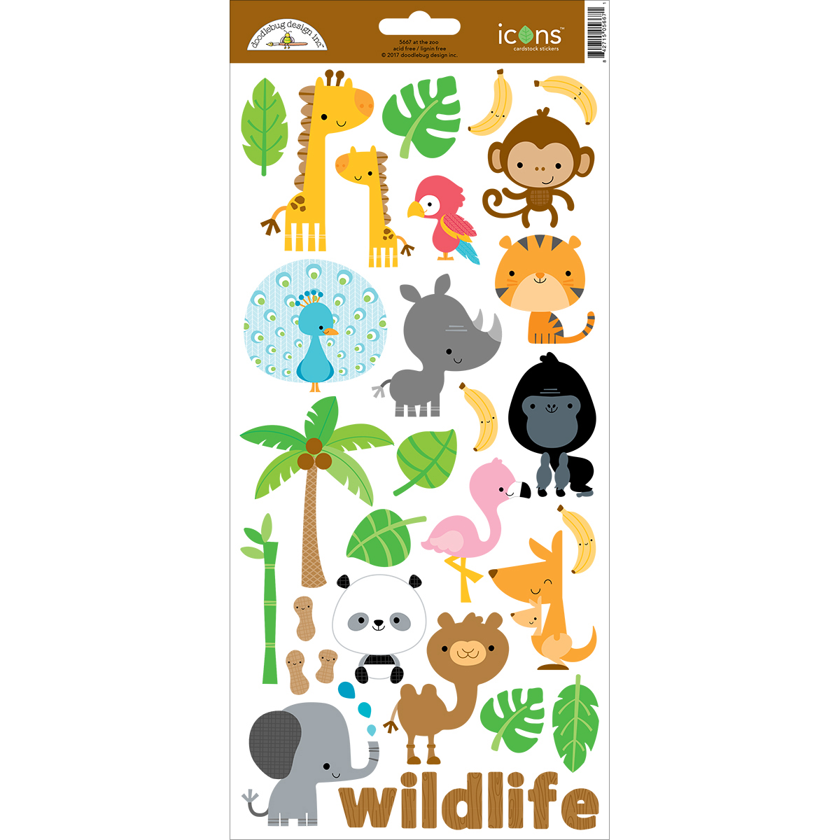 Doodlebug Cardstock Stickers 6X13-At The Zoo #1