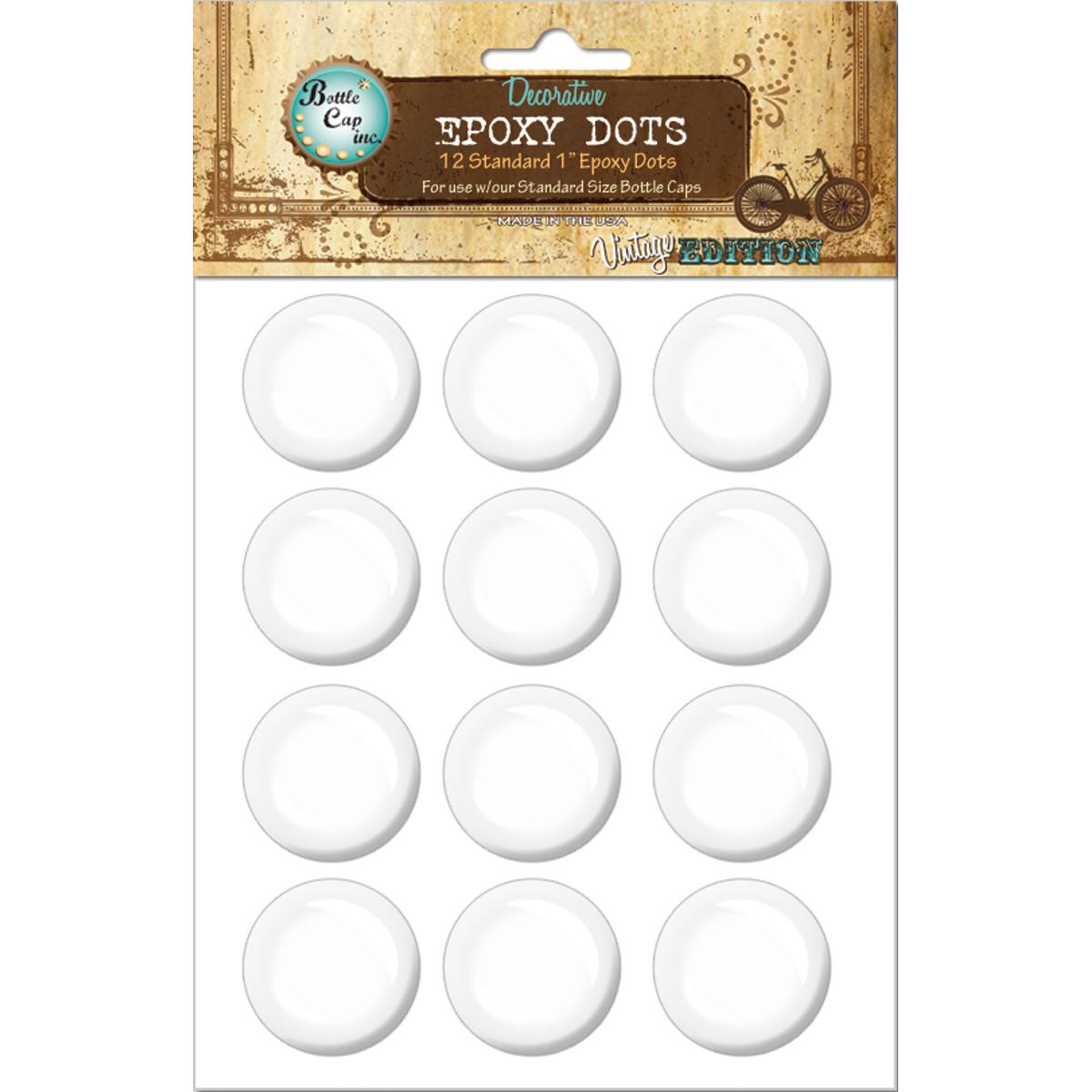 Vintage Epoxy Dot Clear Stickers 1 12/Pkg-Round