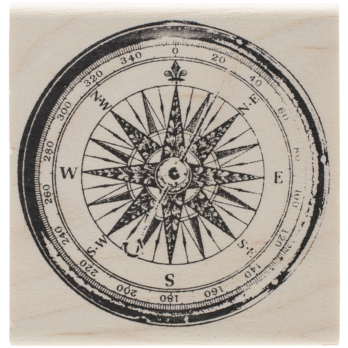 Tim Holtz Mounted Red Rubber Stamp 2X2-Compass