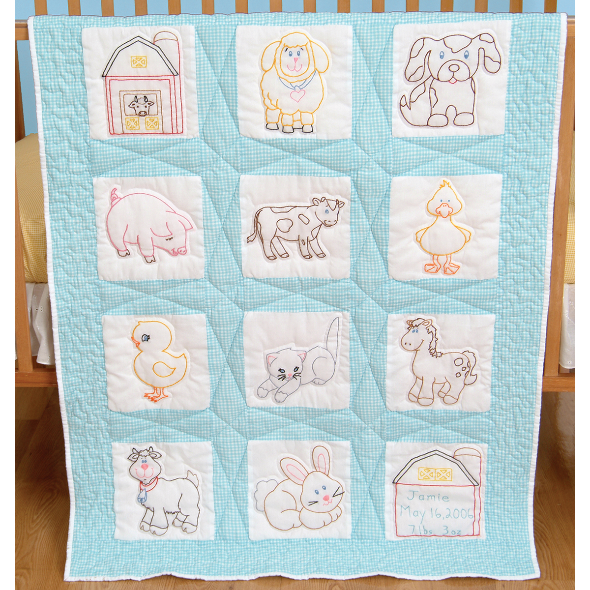 Stamped Embroidery Blocks - 9in - Farm Animals