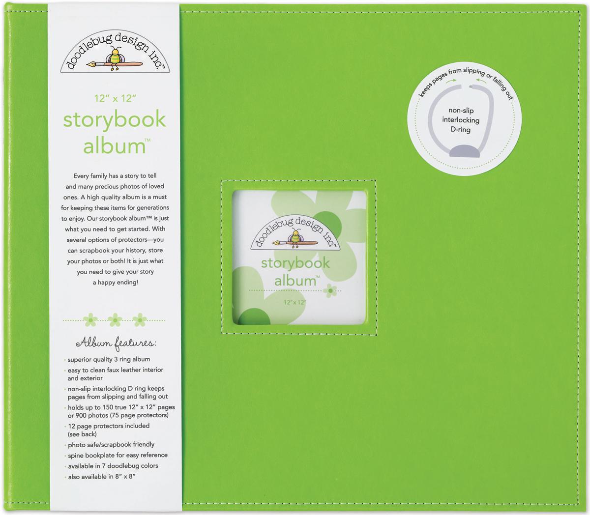 Doodlebug Storybook D-Ring Album 12X12-Limeade