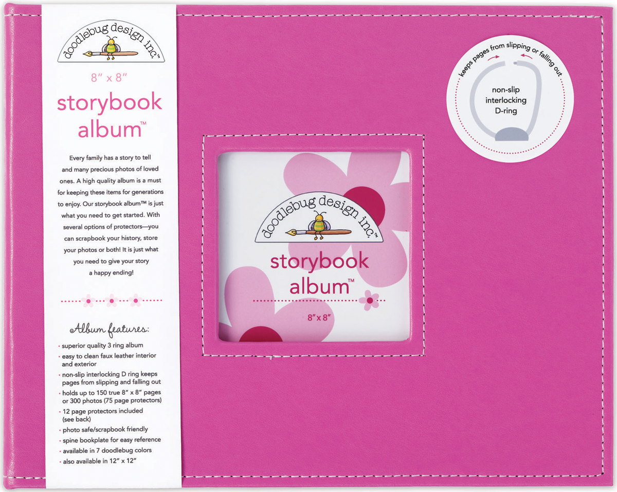 Doodlebug Storybook D-Ring Album 8X8-Bubble Gum