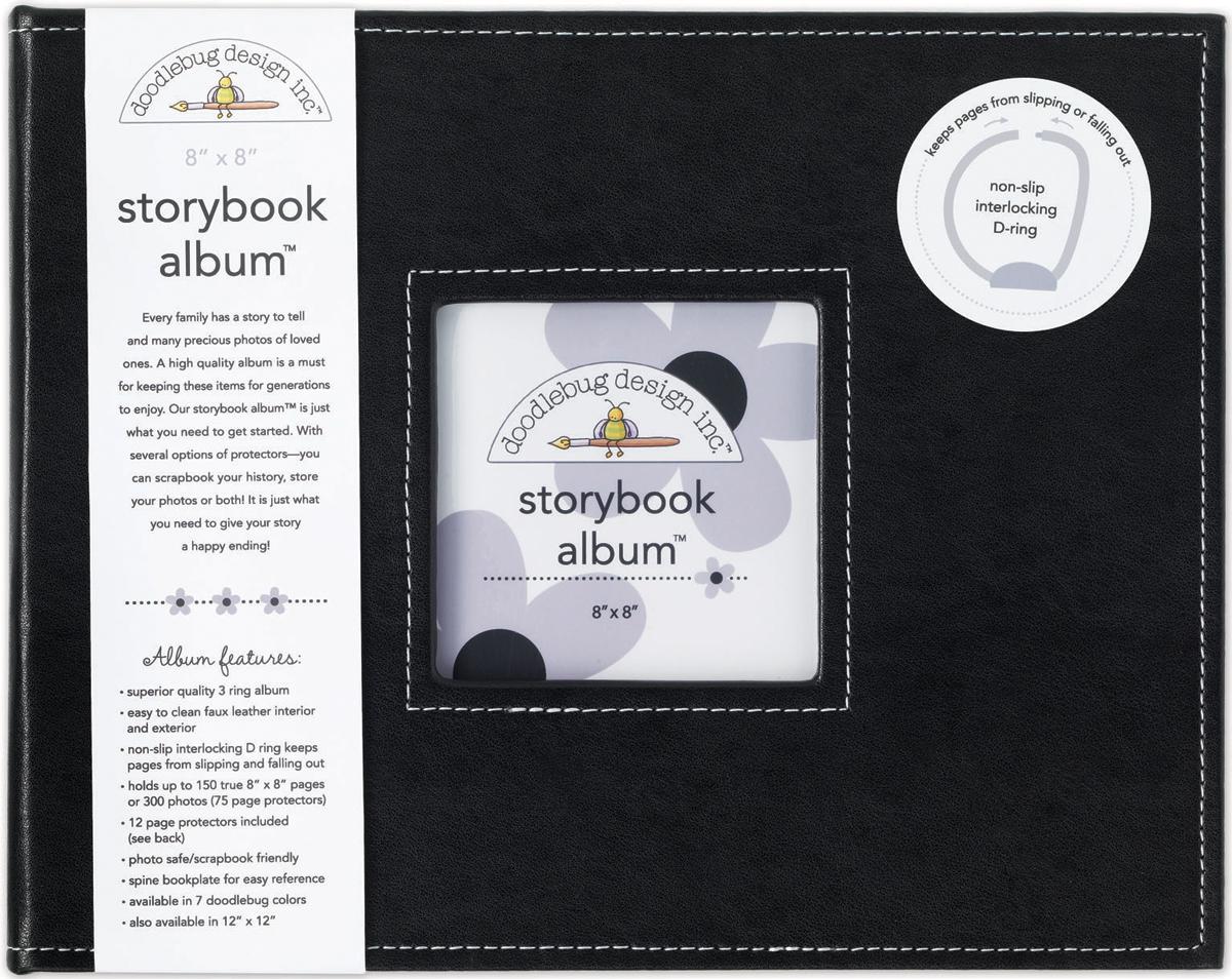 Doodlebug Storybook D-Ring Album 8X8-Beetle Black