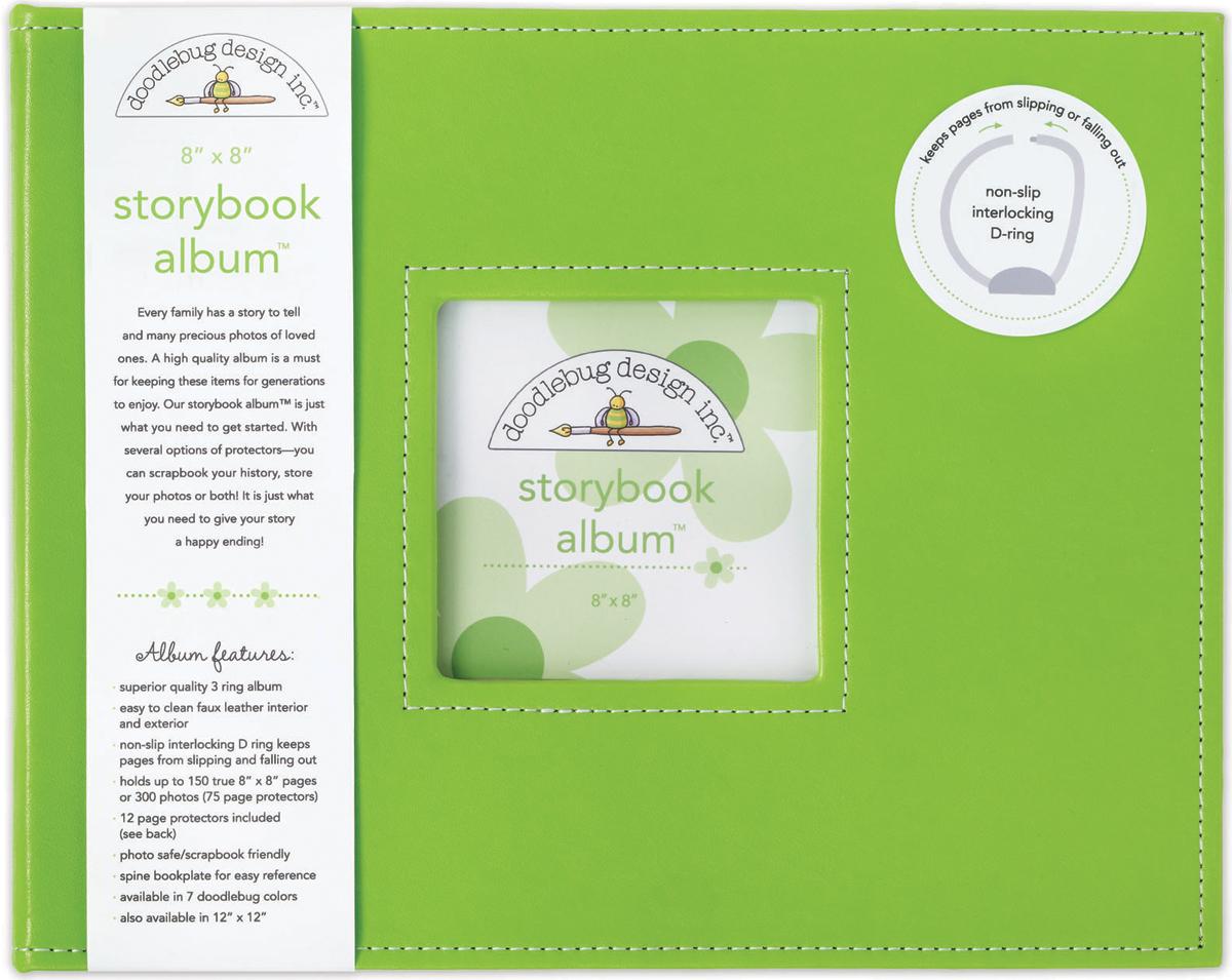 Doodlebug Storybook D-Ring Album 8X8-Limeade