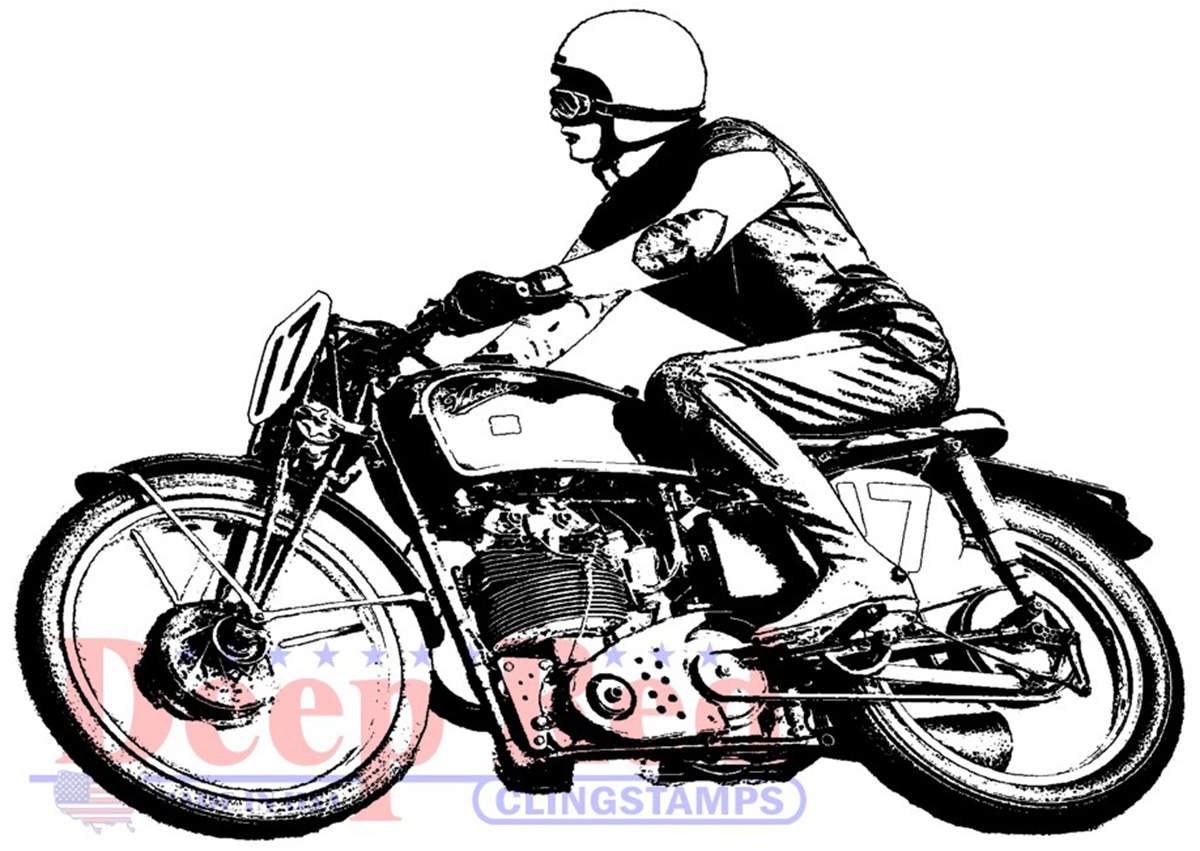 Deep Red Cling Stamp 3X2.1-Motorcycle Racer