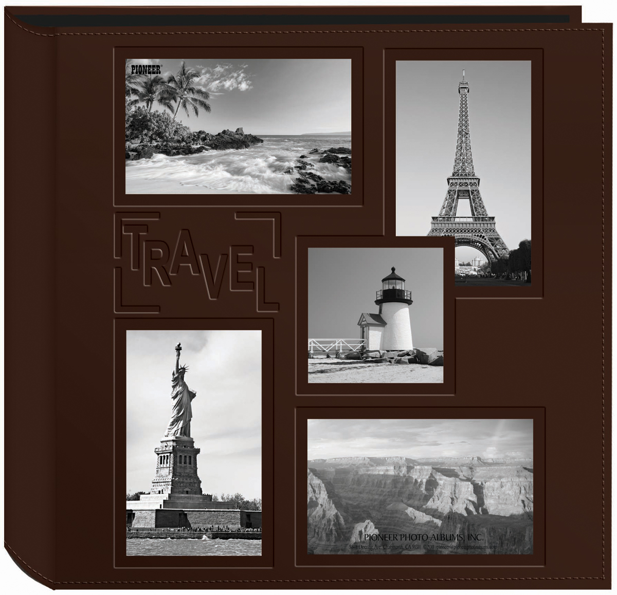 Pioneer 5-Up Sewn Embossed Collage Frame Photo Album 12X12-Travel