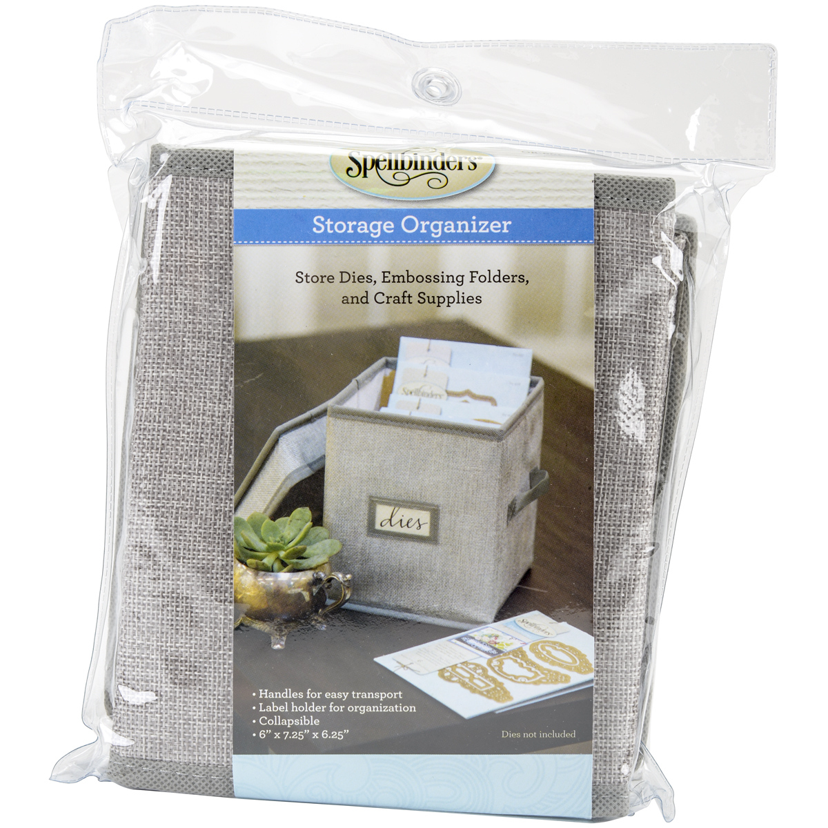 Spellbinders Collapsible Canvas Storage Organizer-6' x 7.25' x 6.25' Cube