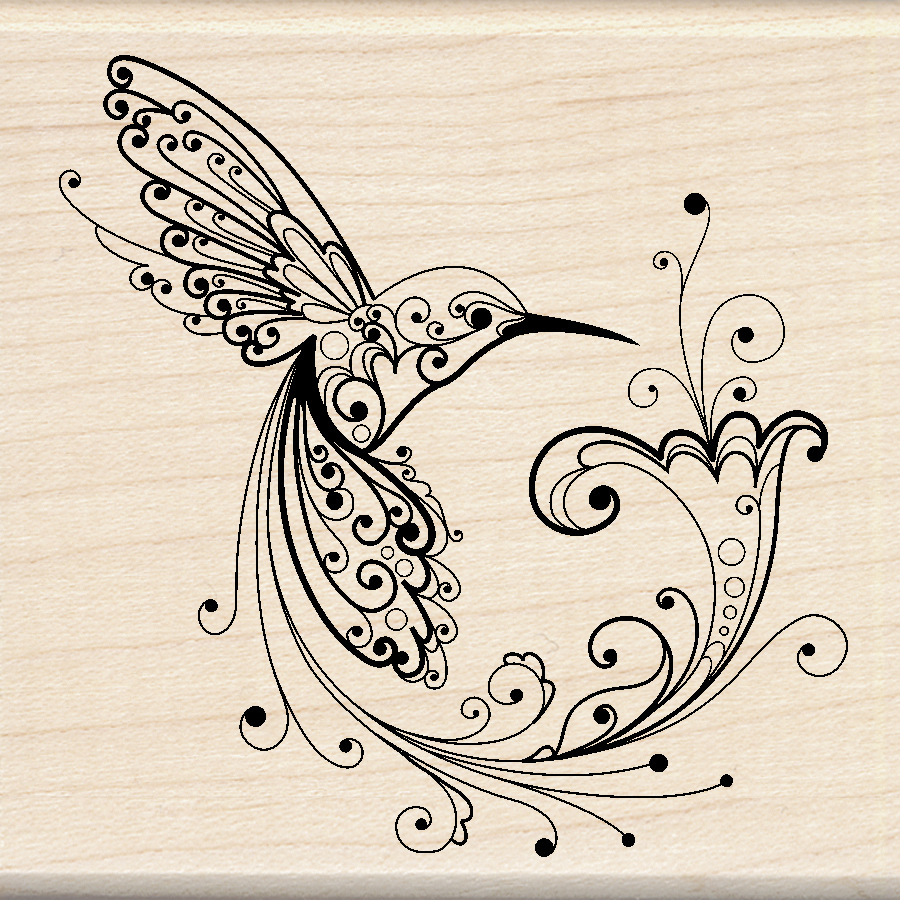 HUMMINGBRD-MOUNTED RUBBER STAMP