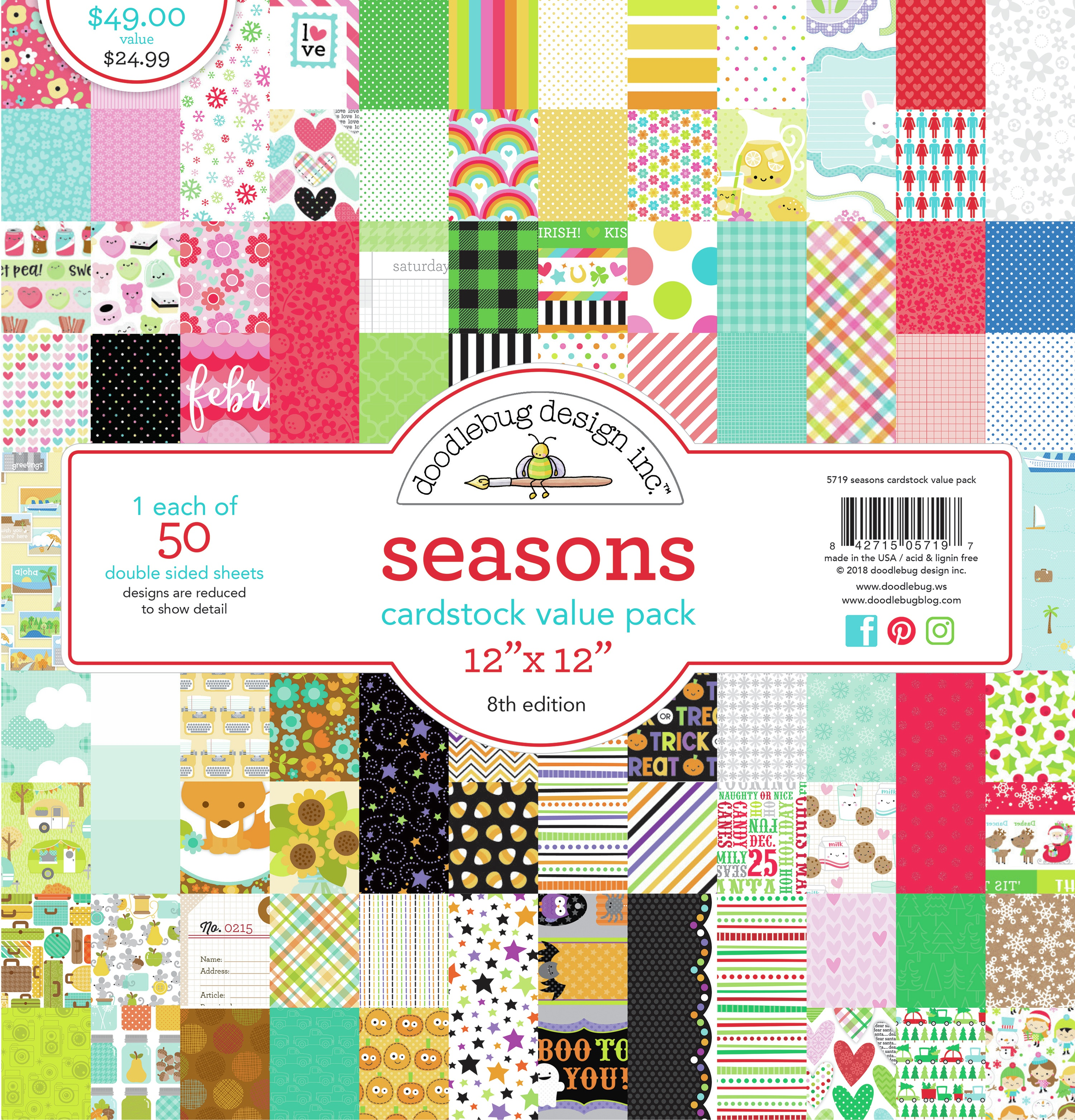 Seasons - 12x12 Cardstock Value Pack, 50 Sheets (Doodlebug)
