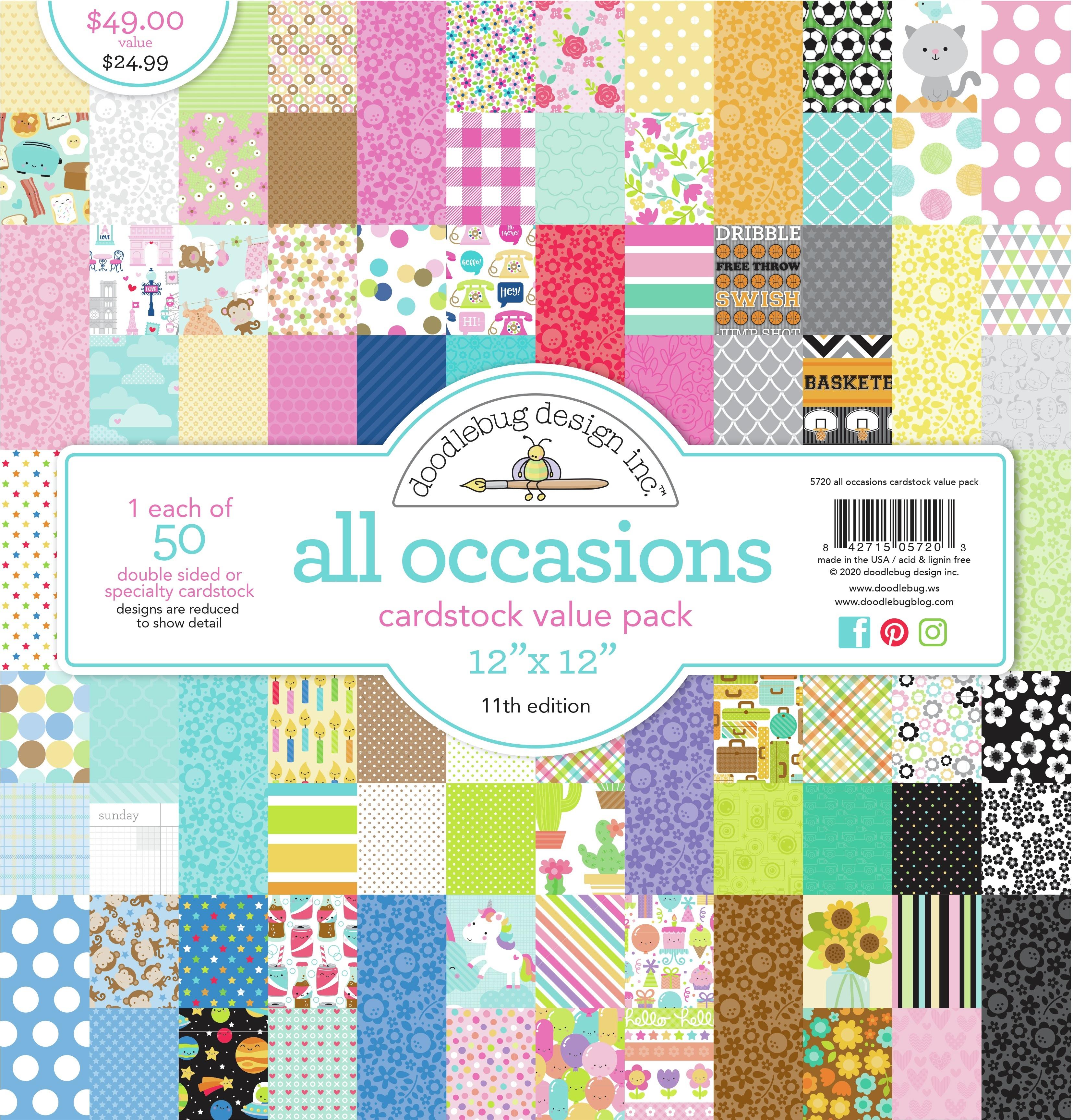 Doodlebug Cardstock Value Pack 12X12 50/Pkg-All Occasions, 50 Designs/1 Each
