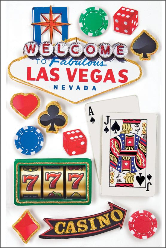 Paper House 3D Stickers 4.5X7.5 -Las Vegas