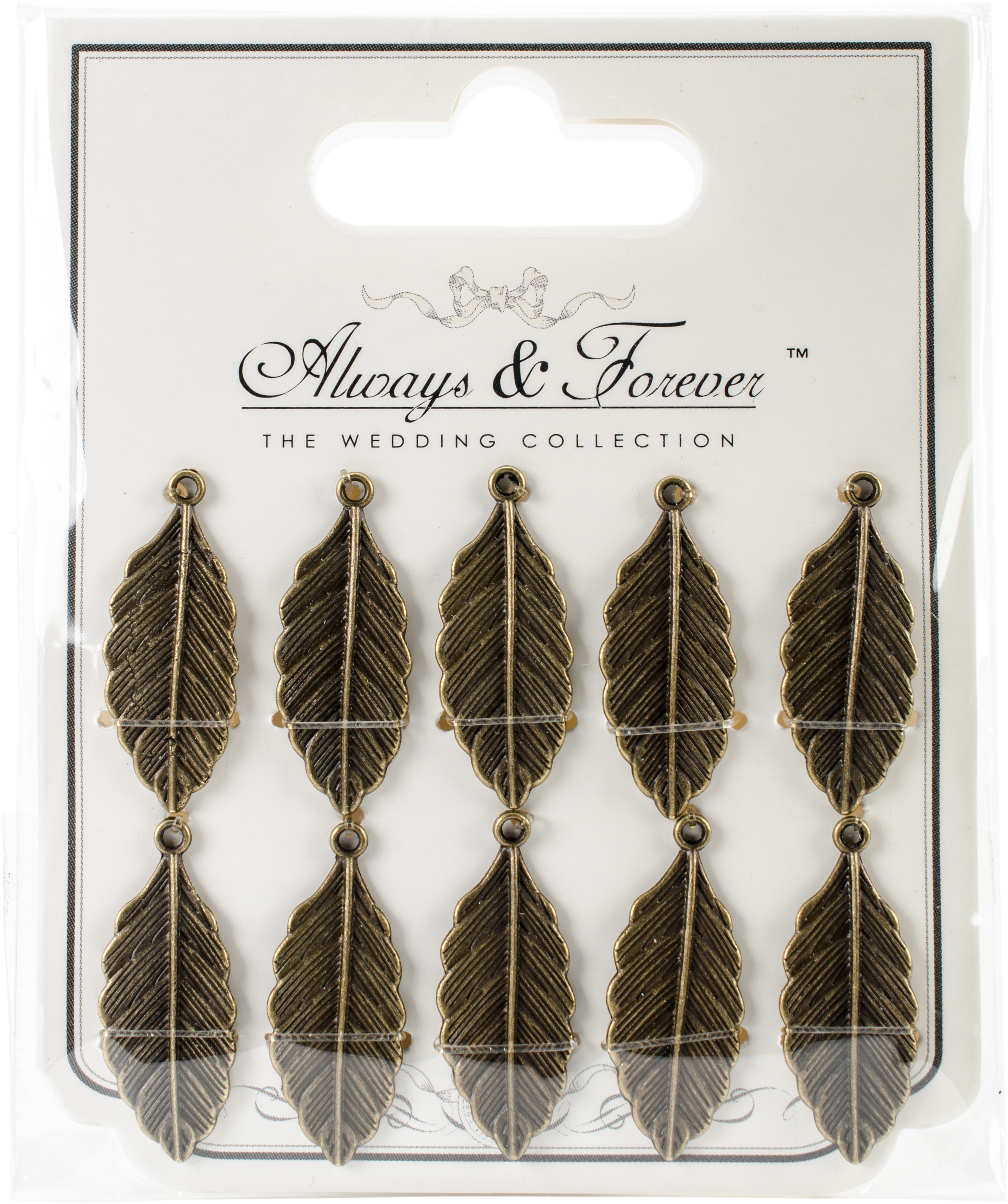 Craft Consortium Always & Forever Vintage Metal Charms 10/Pk-Bronze Feathers 30m...
