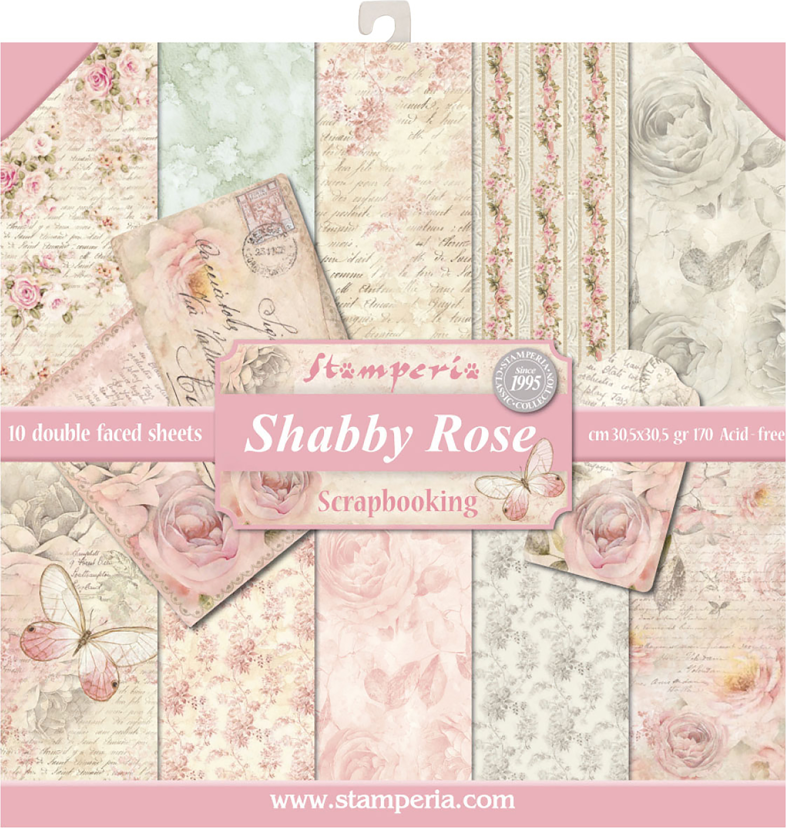 Stamperia Double-Sided Paper Pad 12X12 10/Pkg-Shabby Rose, 10 Designs/1 Each