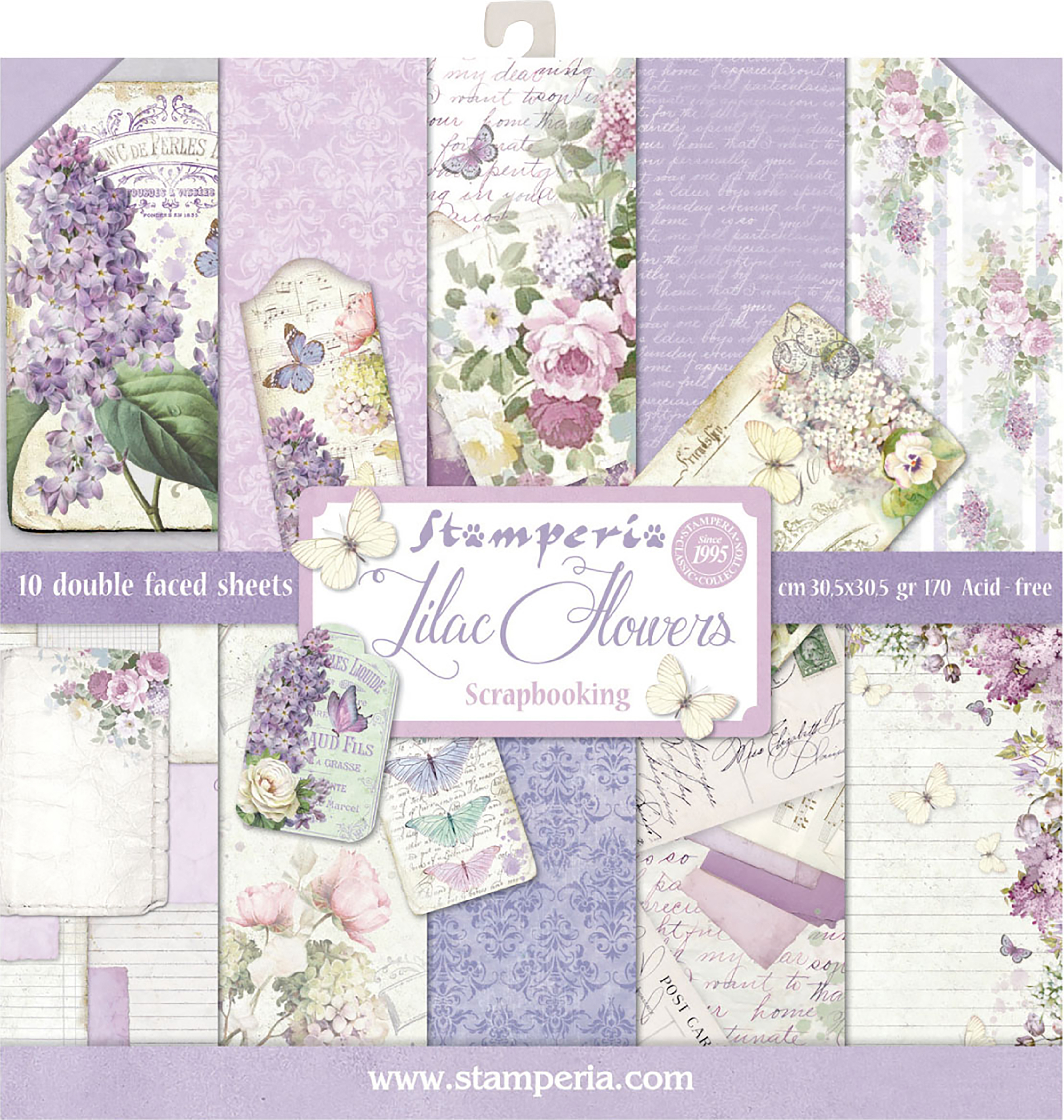 Stamperia Double-Sided Paper Pad 12X12 10/Pkg-Lilac, 10 Designs/1 Each