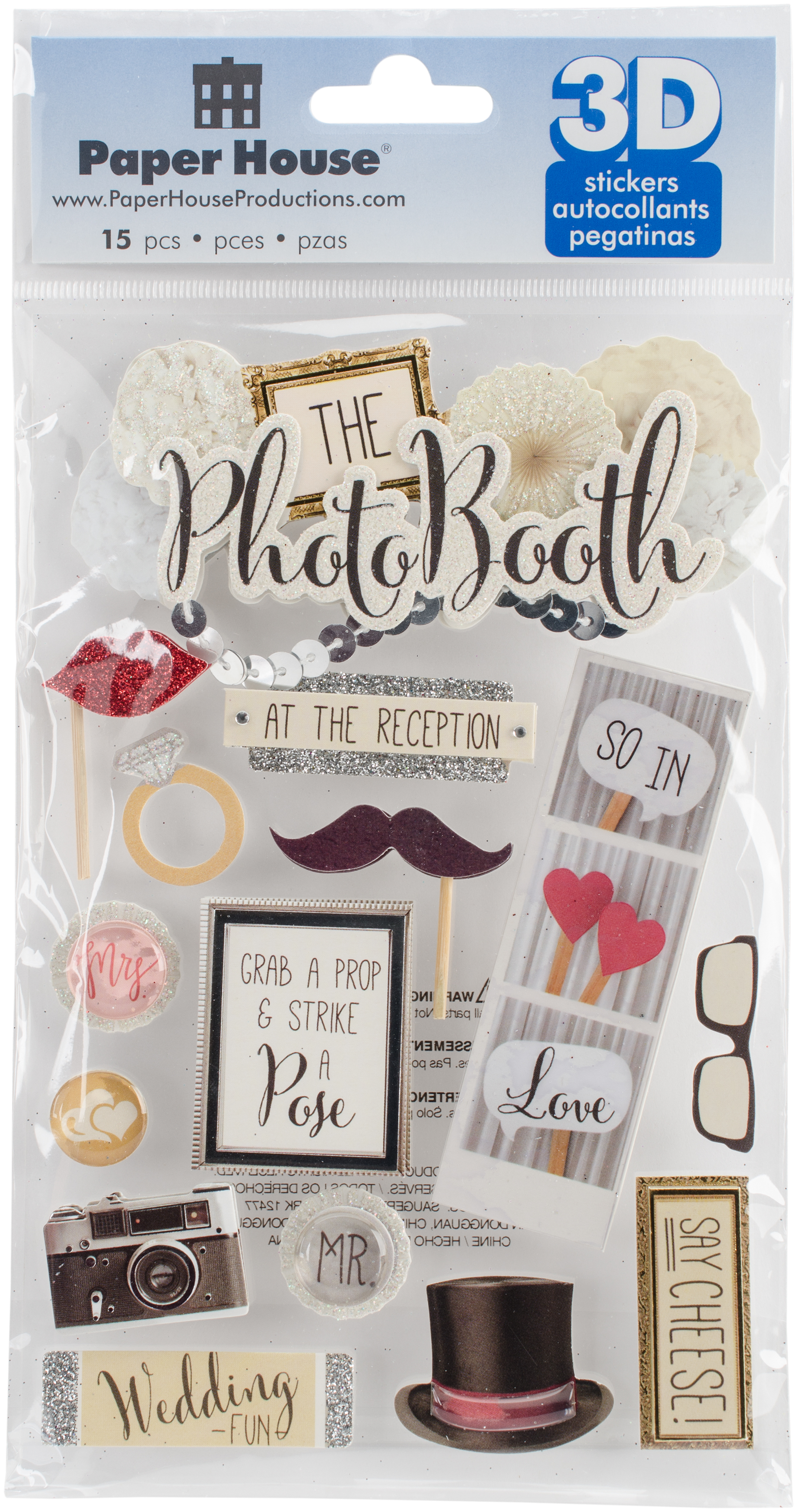 Paper House 3D Stickers 4.5X7.5 -Photo Booth