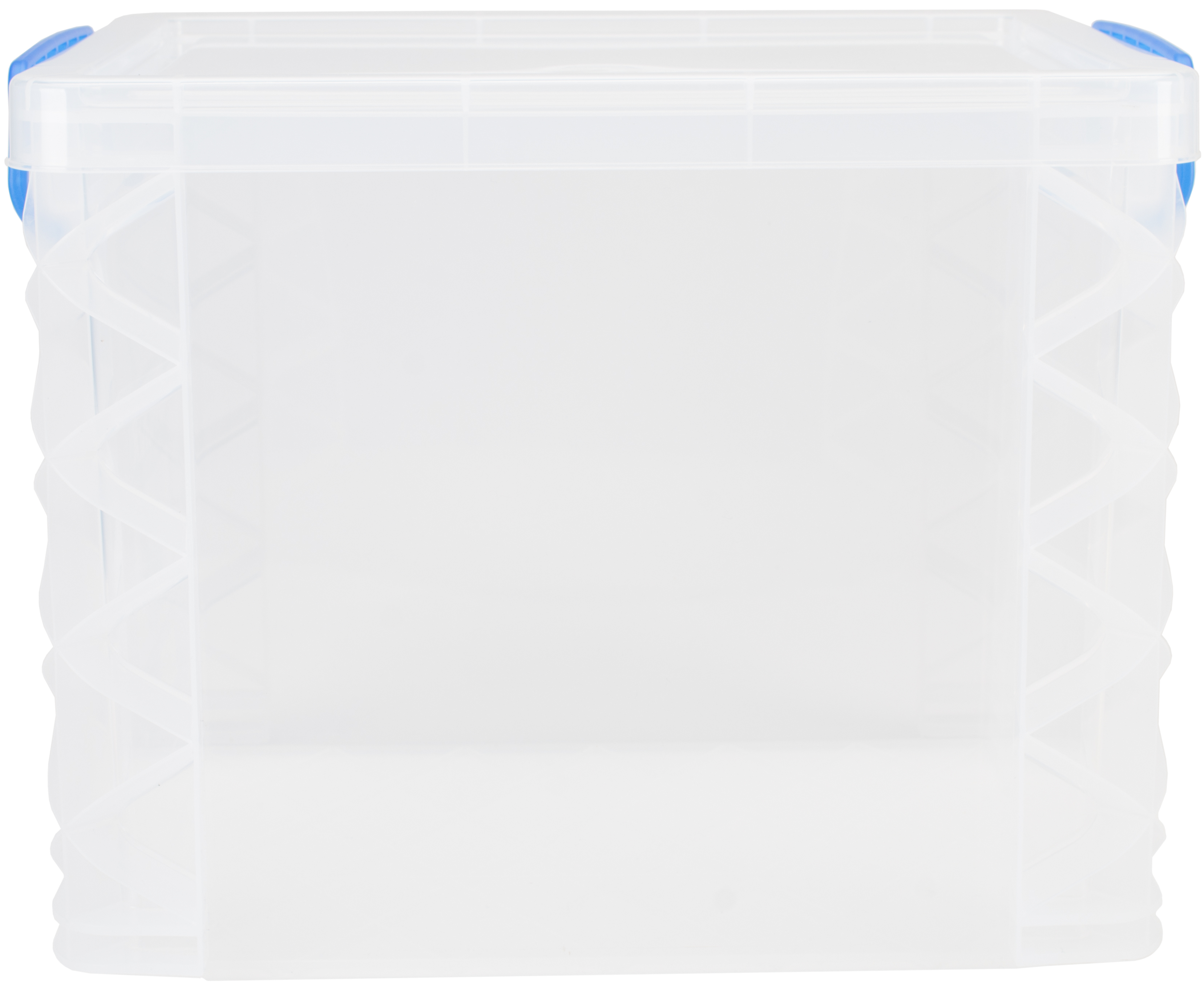 Storage Studios Super Stacker File Box-14.5X10.5X11.25 Clear/Blue Handles