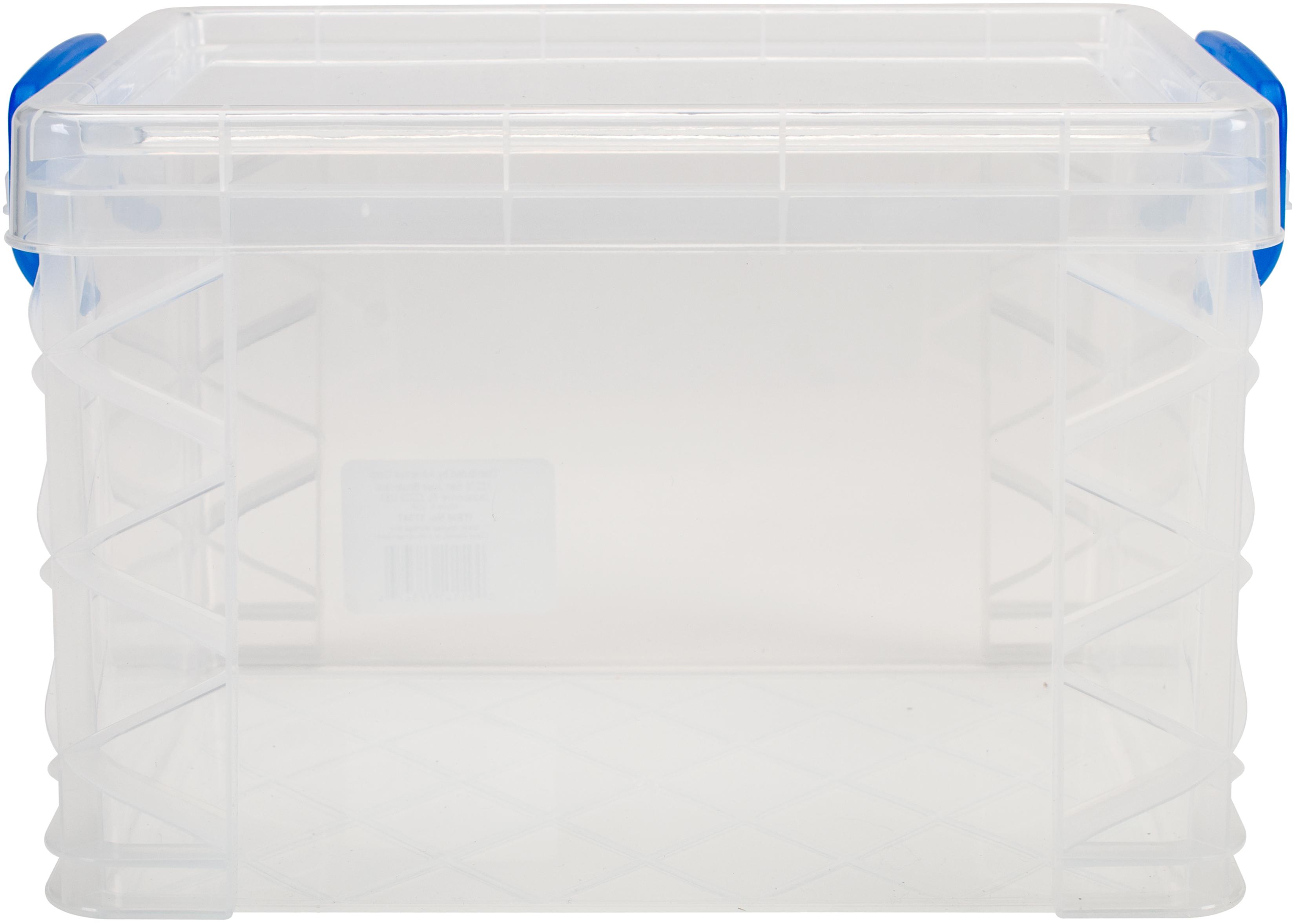 Storage Studios Super Stacker Storage Box-10.12X7.5X6.5 Clear/Blue Handles