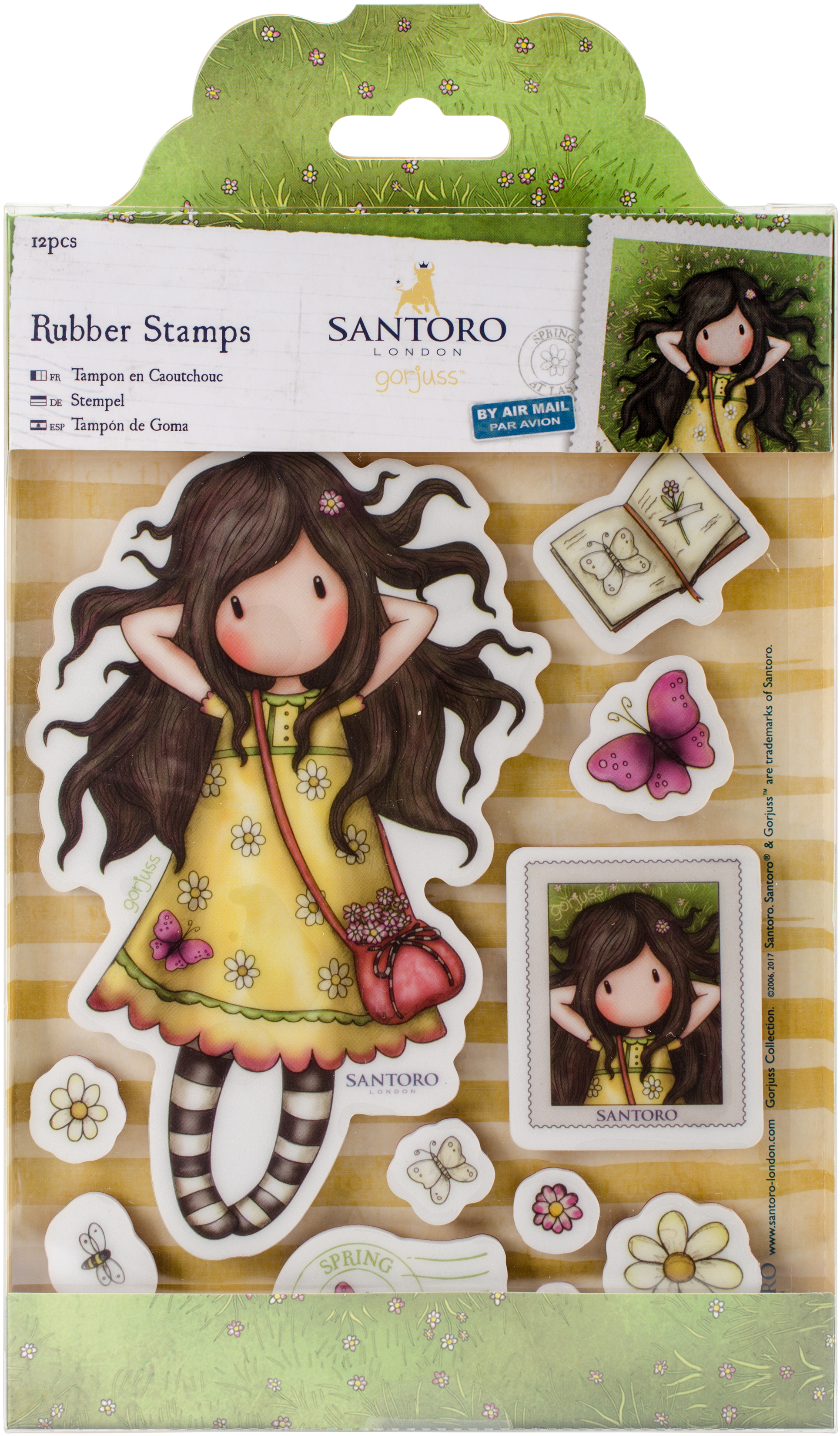 Santoro's Gorjuss Rubber Stamp-Spring At Last