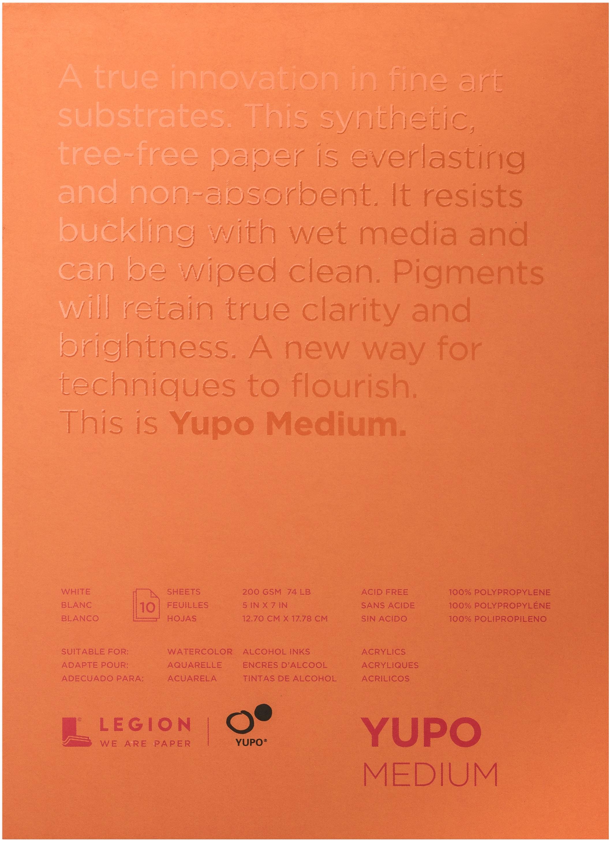 Yupo Medium Pads 5X7 10 Sheets/Pkg-White 74lb