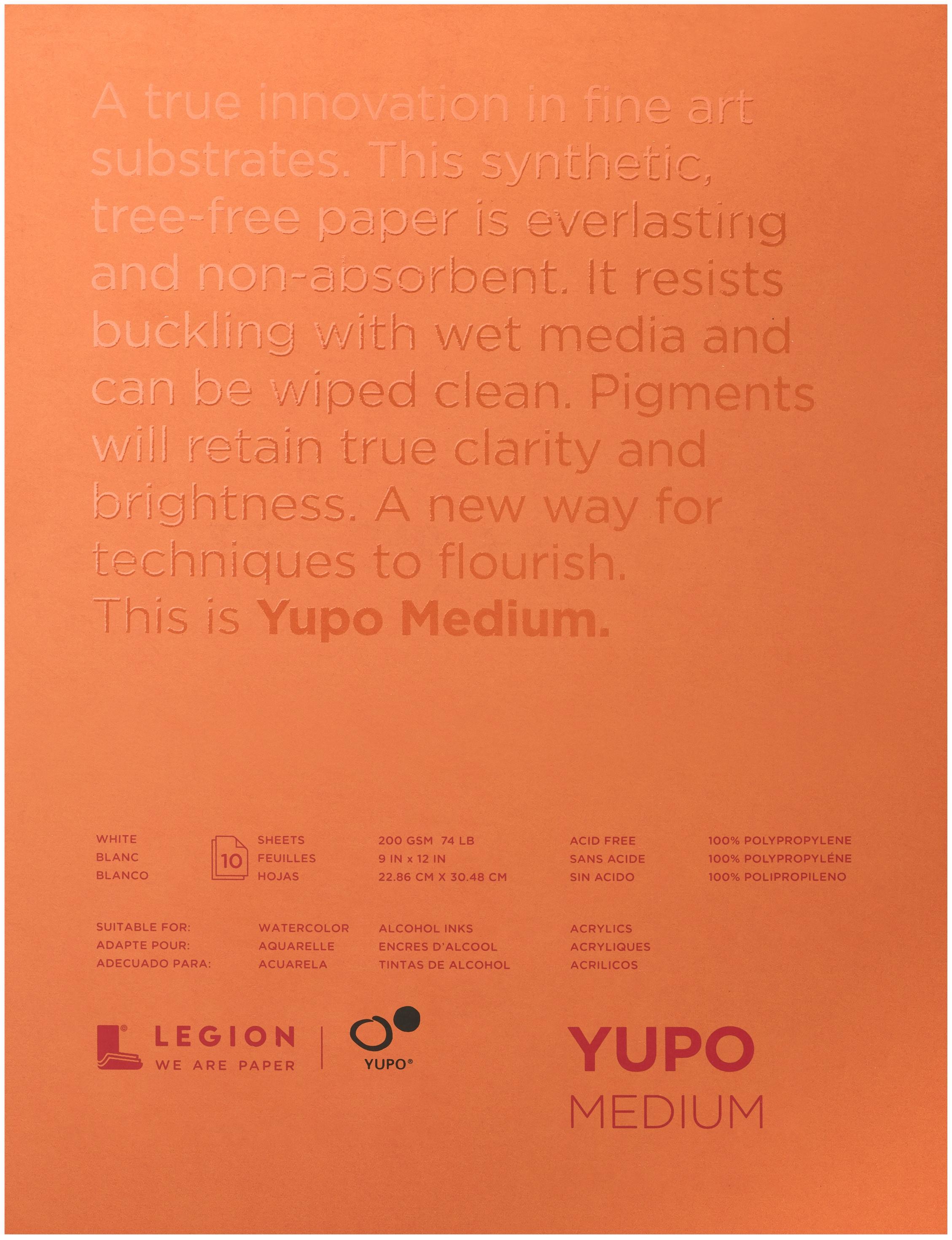 Yupo Medium Pads 9X12 10 Sheets/Pkg-White 74lb