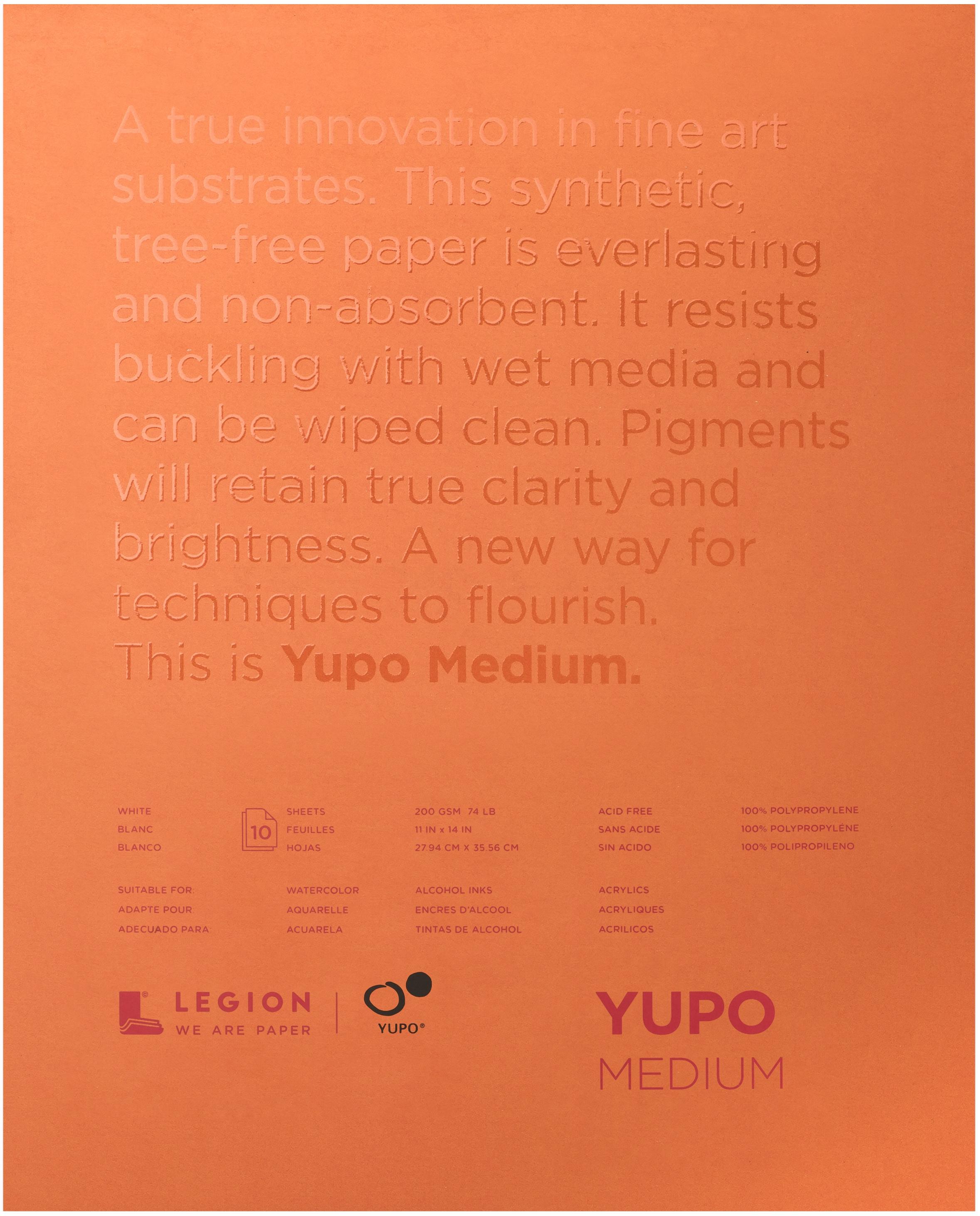 Yupo Medium Pads 11X14 10 Sheets/Pkg-White 74lb