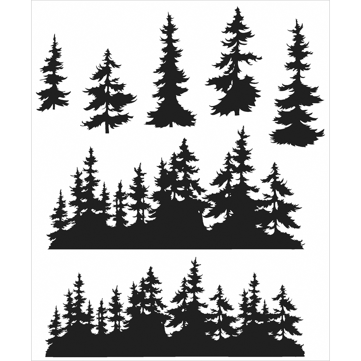 Tim Holtz Cling Stamps 7X8.5-Tree Line