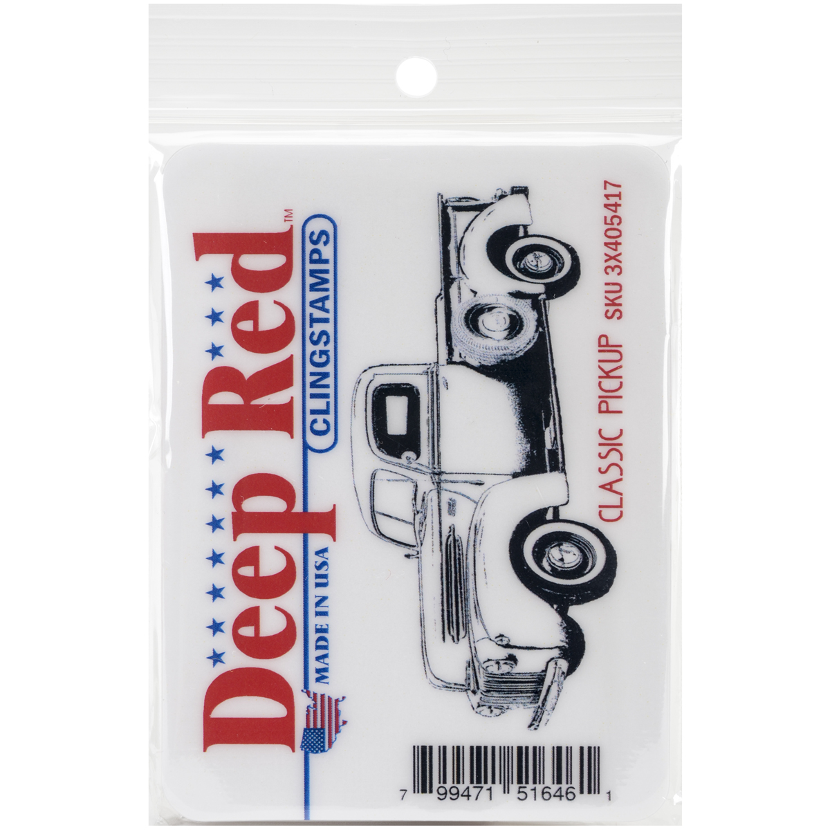 Deep Red Cling Stamp 3.1X1.2-Classic Pickup Truck