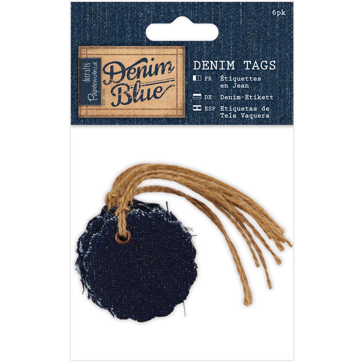 Papermania Denim Blue Fabric Tags 6/Pkg-1.75X1.75 Scalloped Circle