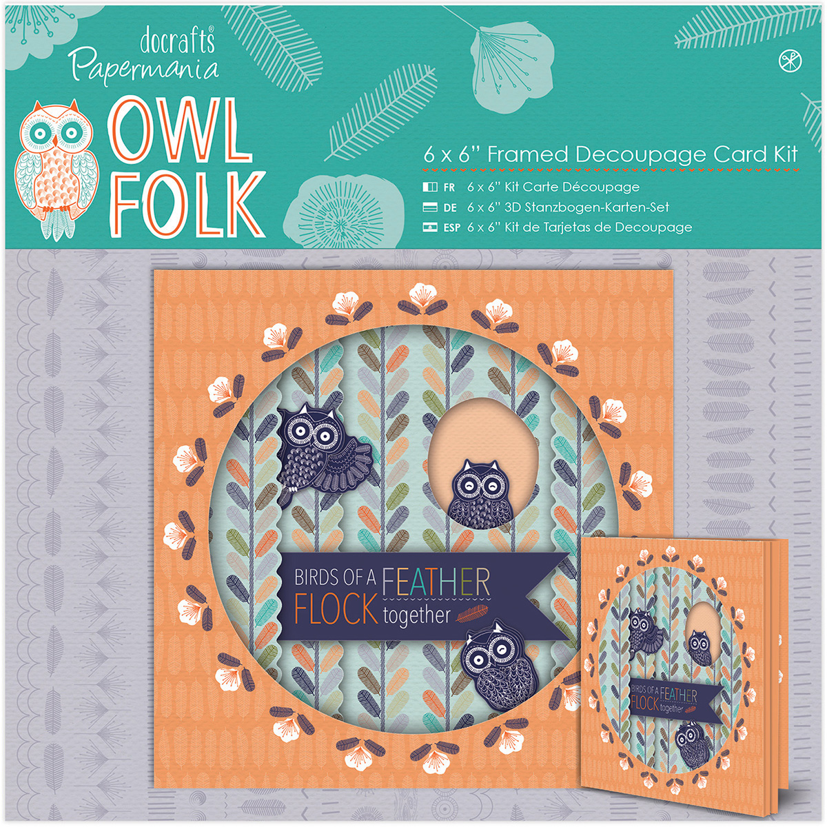 FRAMED DECO-OWL FOLK CARD KIT6X6