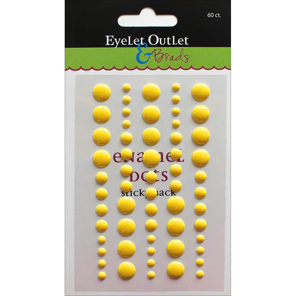 Eyelet Outlet Adhesive-Back Enamel Dot 60/Pkg-Bright Yellow