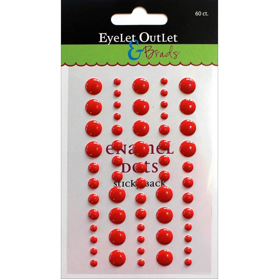 Eyelet Outlet Adhesive-Back Enamel Dot 60/Pkg-Red