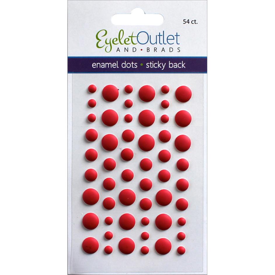 Eyelet Outlet Adhesive-Back Enamel Dots 54/Pkg-Matte Red