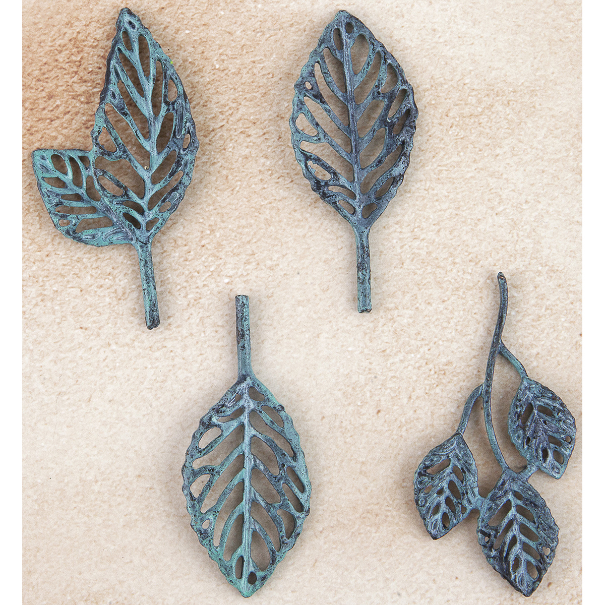 Prima Marketing Metal Trinkets-Stoked Leaves 4/Pkg