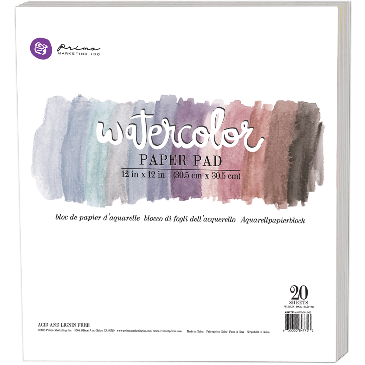 Prima Marketing Watercolor Paper Pad 12X12 20/Pkg-