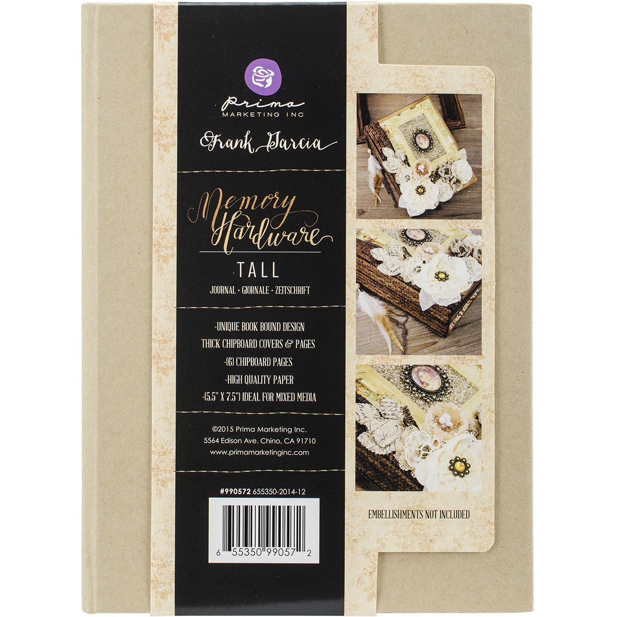 Prima Memory Hardware Chipboard Journal 7.5X5.5-Kraft Tall W/6 Pages