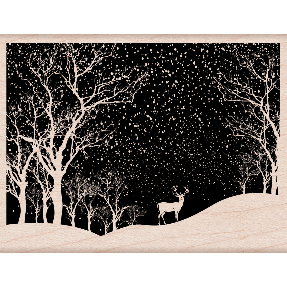 Hero Arts Mounted Rubber Stamp 4.25X3.25-Snowy Scene