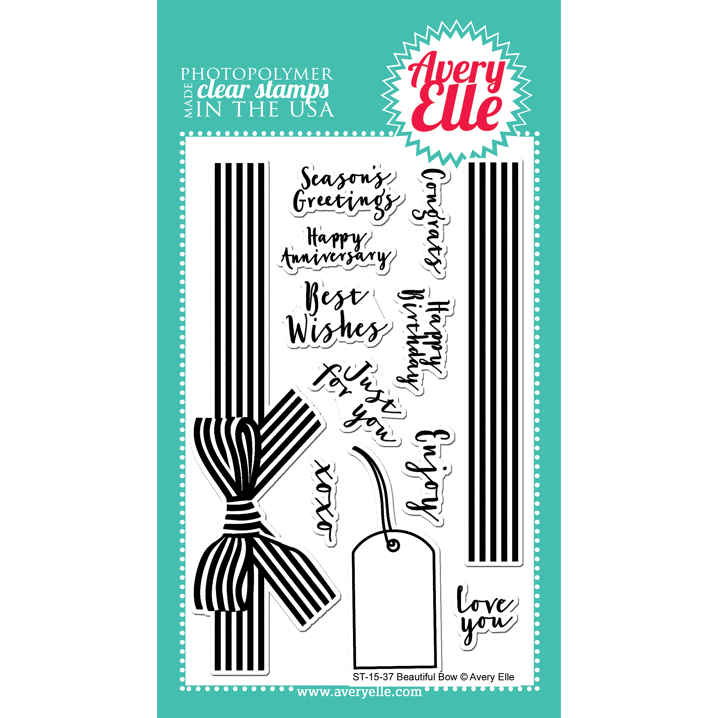 Avery Elle Clear Stamp Set 4X6-Beautiful Bow