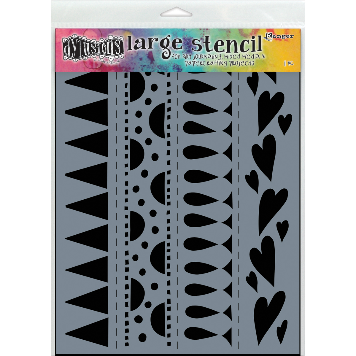 Dyan Reaveley's Dylusions Stencils 9X12-Heart Border