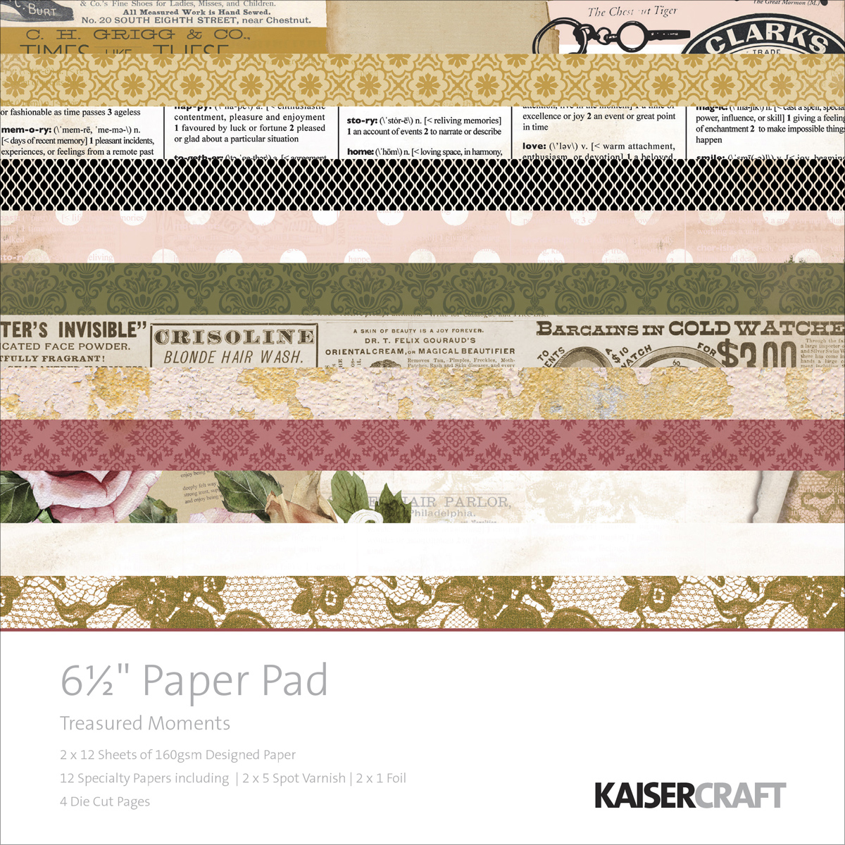 KaiserCraft 6.5 x 6.5 Paper Pad Treasured Moments