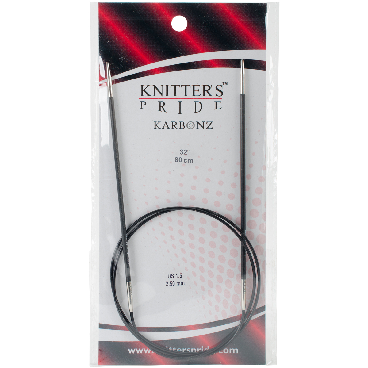 Knitter's Pride-Karbonz Fixed Circular Needles 32-Size 1.5/2.5mm
