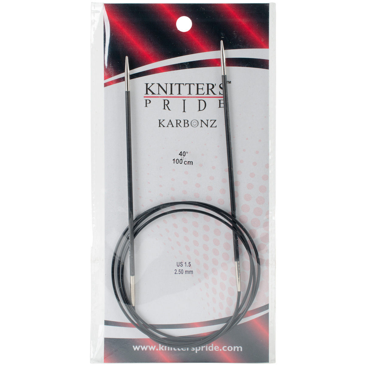 Knitter's Pride-Karbonz Fixed Circular Needles 40-Size 1.5/2.5mm