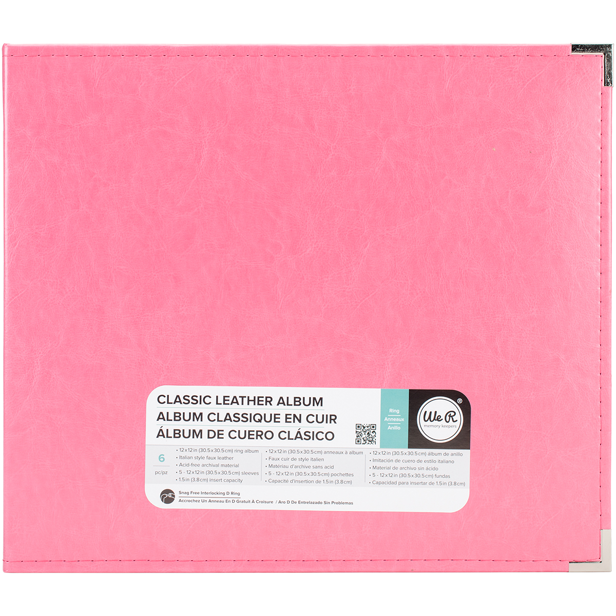 We R Classic Leather D-Ring Album 12X12-Strawberry