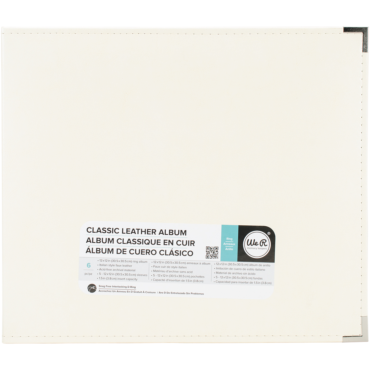 We R Classic Leather D-Ring Album 12X12-Vanilla