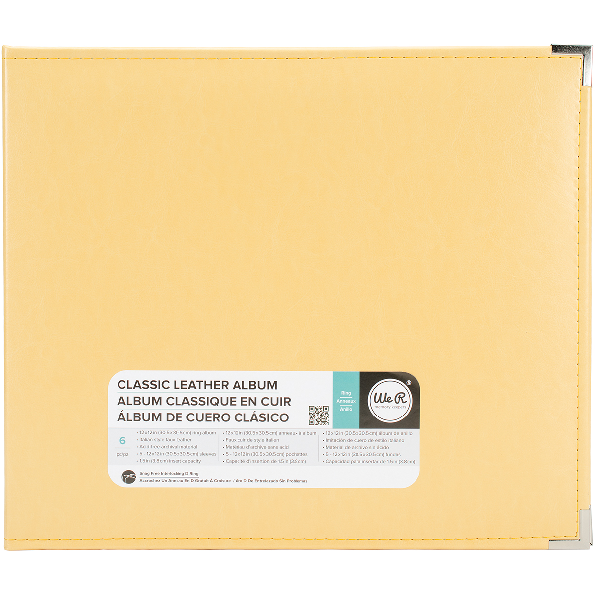 We R Memory Keepers - Classic Leather D-Ring 12x12 Album, Buttercup