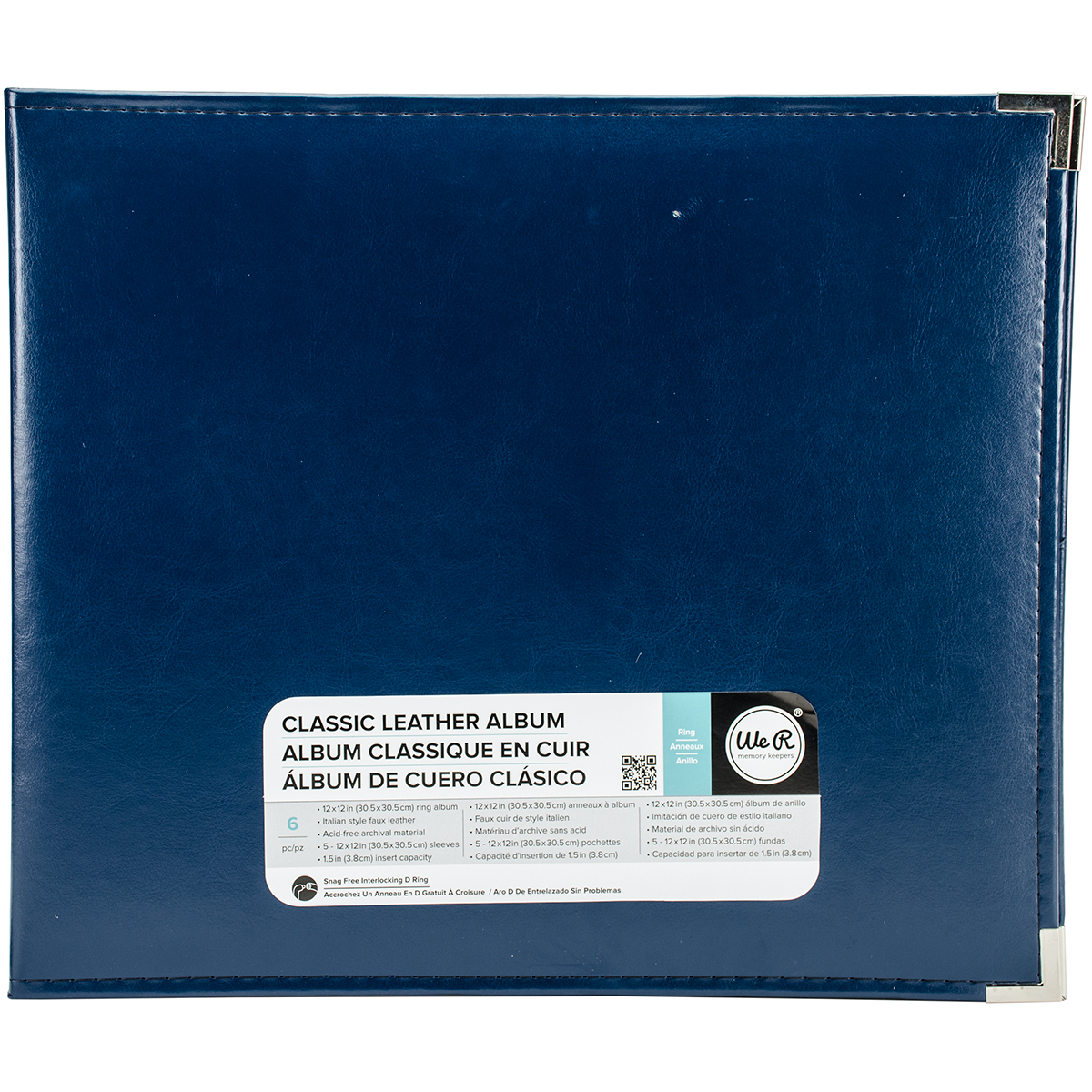 We R Classic Leather D-Ring Album 12X12-Cobalt